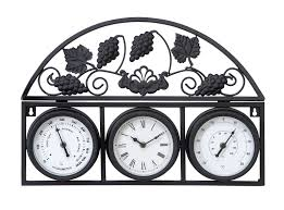 vintage style outdoor wall clock thermometer metal frame home