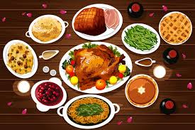 food of thanksgiving dinner stock vector image 59736749
