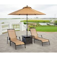 monaco 4pc sling chaise chair set 2 chaise chairs 1 umbrella