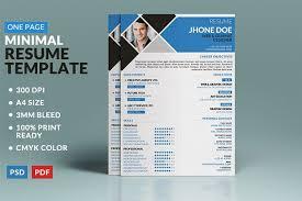 minimal one page resume template resume templates creative market