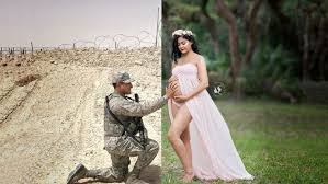 Maternity Pictures Deployed Service Member Photoshopped Into S Moving Maternity
