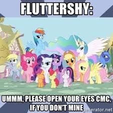 Mlp Meme Generator - fluttershy ummm please open your eyes cmc if you don t mine mlp
