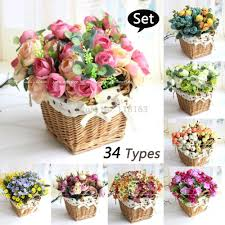 Decorative Flowers by Best Quality 34 Types Rose Lavender Daisy Artificial Silk Flowers