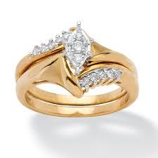 gold wedding ring sets 1 5 tcw diamond 10k yellow gold 2 bridal engagement