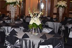 silver chair covers silver on black wedding tables was decorated in silver bombay