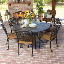 Evangeline  Piece Cast Aluminum Patio Dining Set With Round Table - 7 piece outdoor dining set with round table