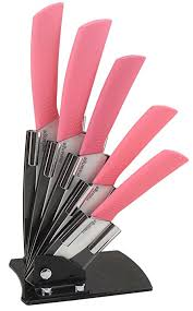 pink kitchen knives melange 6 ceramic knife set with pink handle and