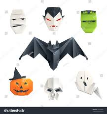 set origami halloween characters mummy vampire stock vector