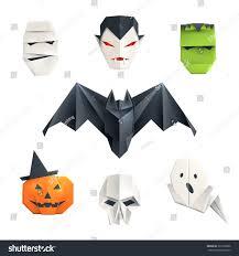 set origami halloween characters mummy vampire stock vector