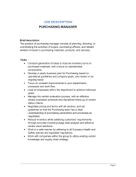 purchasing manager job description template u0026 sample form