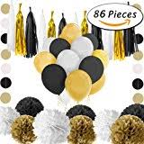 black and gold party decorations black white gold party decorations tissue paper pom