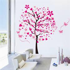 stickers chambre fille princesse lh584 165 175 cm coeur papillon fleur arbre amovible étanche