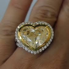 heart shaped diamond engagement ring 18k two tone gold 8 32ct heart shaped fancy yellow diamond