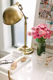 Green And Gold Desk Lamp Including Gold Desk Lamp Added With Vase Of Flower In Green Color