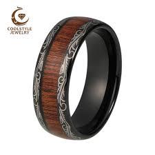 mens wedding bands wood inlay mens wedding band 8mm black tungsten ring wood inlay grain pattern