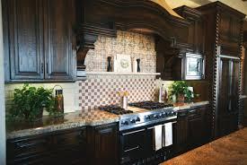 dark stone backsplash kitchen cute dark wood cabinetry with stacked stone backsplash