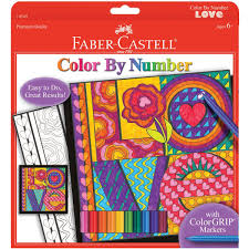amazon com faber castell color by number love art kit premium