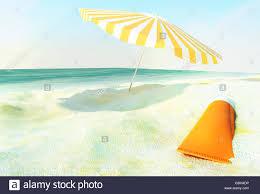 Beach Sun Umbrella Beach Scene With Sunscreen And Sun Umbrella Against Ocean