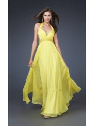 line floor length long yellow chiffon prom evening formal