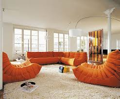 Living Room With Orange Sofa Sofas Orange Sofa As Interior Design In Charming Room Playful