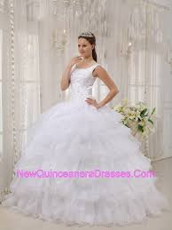quinceanera dresses with straps straps organza layers applique design white quinceanera dresses