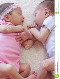 cute twins sleeping stock images image 33115924