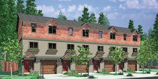 house front color elevation view for f 539 4 plex plans townhouse