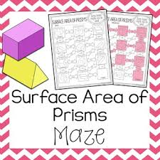 surface area of prisms maze by amazing mathematics tpt