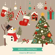 cute merry christmas elements vector free download