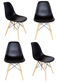 set of 4 eames style dsw molded black plastic dining shell chair