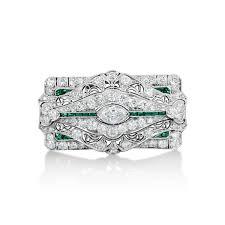 art deco diamond u0026 emerald brooch u2013 estate marshall pierce u0026 company