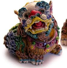 fu dogs wucai polychrome ceramic fu dogs and pup pair