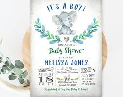 elephant baby shower invitations boy marialonghi