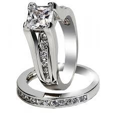princess cut cubic zirconia wedding sets wedding rings sterling silver wedding ring sets