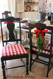diy buffalo check reindeer art hymns and verses this tablecloth was just what i was looking for to cover the seats of my dining room chairs and of course i grabbed the matching napkins to use for my