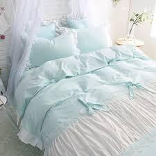 aqua ruffle comforter ruched bedding
