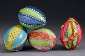 paper easter eggs paper and ribbon styrofoam easter egg crafts mod podge rocks