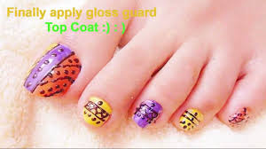 colorful tribe nail art tutorial for feet beautiful foot with nail