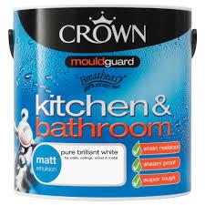dulux kitchen bathroom paint colours chart crown kitchen bathroom pure brilliant white matt emulsion paint