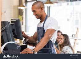 Apron Prints Happy Young Waiter Blue Apron Checking Stock Photo 485257147