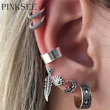 ear hoop pinksee hot sale 7pcs set bohemian stud earrings for women moon