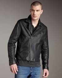 black leather biker jacket john varvatos leather biker jacket in black for men lyst