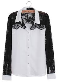 black and white blouse white black lace patchwork sleeve chiffon blouse blouses tops