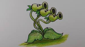 Cute Plant by How To Draw Threepeater From Plants Vs Zombies U2013 Mr Cute Cartoon