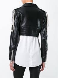 biker jacket women moschino belt moschino chain embellished biker jacket women
