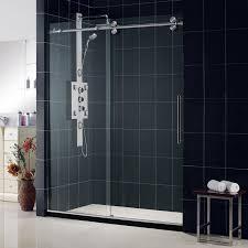Shower Sliding Door White Brown Bathroom Decoration Using Steel Framed Clear Glass
