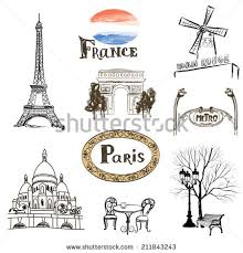paris icons set handdrawn sketch france stock vector 211843243