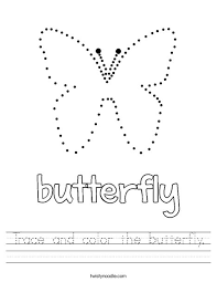 trace and color the butterfly worksheet twisty noodle