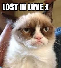 Lost Love Meme - lost in love grumpy cat reverse meme on memegen