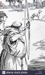 illustration of a friar hunting with a bow and arrow dated 17th